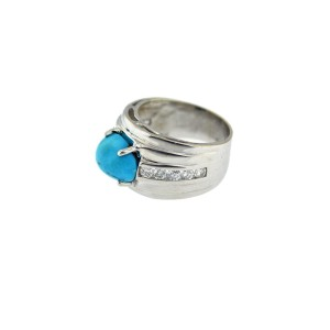 14K White Gold Diamond And Turquoise Band December Birthstone Ring