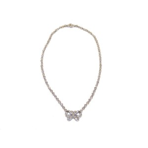 Platinum And Diamonds With 18K White Gold Clasp Necklace Ribbon Pendant