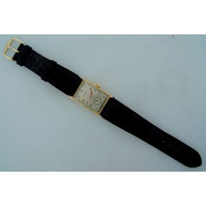 Patek Philippe Yellow Gold Men's Black Leather Strap Original Vintage 1940s Watch