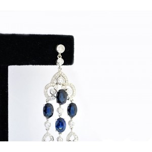 18K White Gold Sapphire Diamond Chandelier Cluster Dangle Earrings