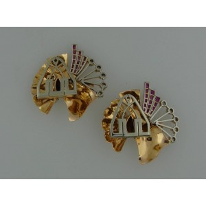 Rose Gold Platinum Diamond Ruby Retro Bangle Bracelet