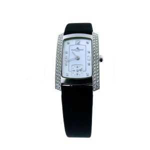 Baume Mercier 18K White Gold Diamond Rectangle Face Milles Womens Watch