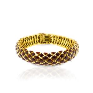 David Webb 18K Yellow Gold And Red Enamel Bracelet