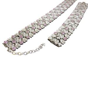 Carrera 18K White Gold Diamond And Pink Sapphire Collar Necklace & Bracelet Set