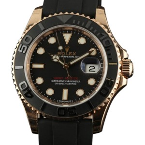Rolex 116655 RL155 Yacht-Master Black 18K Everose Gold Rubber Mens Watch