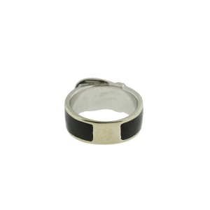 14K White Gold And Black Diamonds Buckle Ring