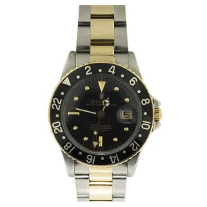 Rolex GMT Master Black Ceramic Two Tone 18K Yellow Gold & Stainless Steel Watch 1981