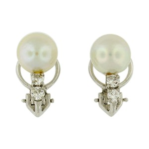 14K White Gold Pearl and 0.5 Carat Diamond Earrings