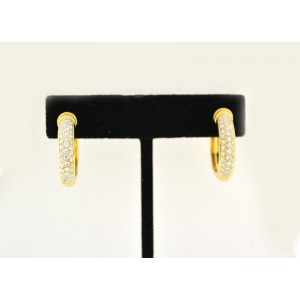 18K Yellow Gold and 0.80 ct. Diamond Hoop Earrings