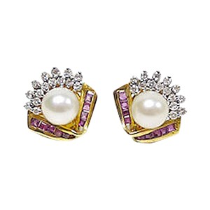 14K Yellow Gold Diamond And Rubies With Pearl Earring