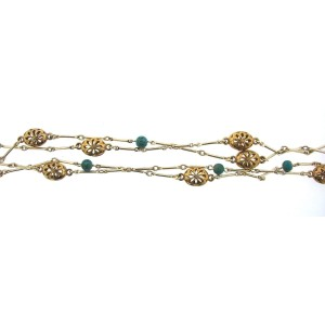 14K Yellow Gold Silver & Arizona Turquoise Necklace