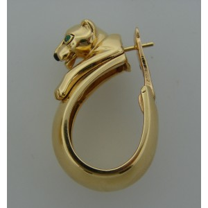Cartier Emerald Onyx Yellow Gold Panthere Hoop Earrings Hoops