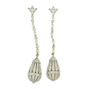 Diamond, Pearl and Platinum Drop Earrings