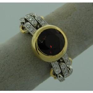 Pomellato 18K Yellow Gold Garnet Diamond Flexible Band Signed Ring