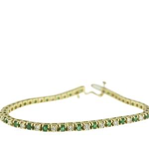 14K Yellow Gold Diamond And Emerald Tennis Style Bracelet