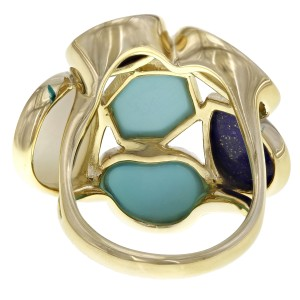 Ippolita 18K Yellow Gold with Turquoise, Mother of Pearl and Lapis Rock Candy Ring Size 7.25