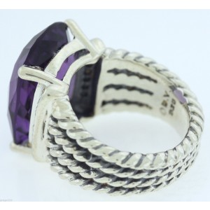 David Yurman Wheaton 925 Sterling Silver With Amethyst & Diamonds Ring Size 5.5