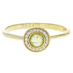 Ippolita Lollipop 18K Yellow Gold with Peridot and Diamond Halo Mini Ring Size 7