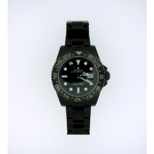 Rolex GMT Master II Stainless Steel Black Dial Anodized Watch