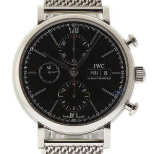 IWC Portofino IW391010 Chronograph Stainless Steel Black 42mm Watch