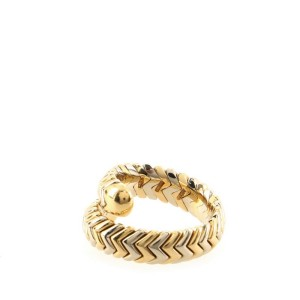 Bvlgari Spiga Single Wrap Ring 18K Yellow Gold and Stainless Steel 6
