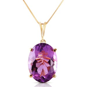 7.55 CTW 14K Solid Gold Necklace Oval Purple Amethyst