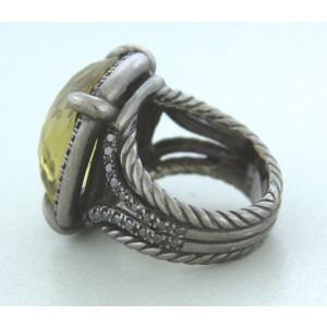 David Yurman 925 Sterling Silver with Lemon Citrine & Diamond Chatelaine Ring Size 6.5