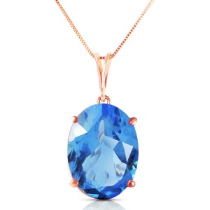14K Solid Rose Gold Necklace with Oval Blue Topaz