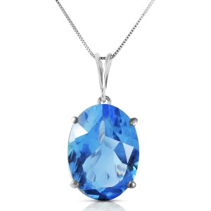 8 CTW 14K Solid White Gold Necklace Oval Blue Topaz