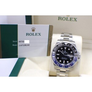 2015 ROLEX GMT MASTER II 116710 BATMAN BLACK & BLUE STAINLESS STEEL BOX & PAPERS