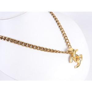 Chanel CC Logo Gold Tone Metal Turn Lock Chain Pendant Necklace