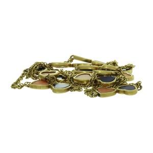 Van Cleef & Arpels 18K Yellow Gold Pink Coral Lapis Lazuli Hearts Necklace