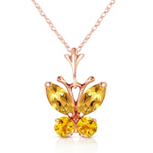 0.6 CTW 14K Solid Rose Gold Butterfly Necklace Citrine