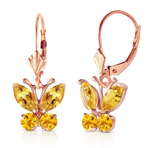 1.24 CTW 14K Solid Rose Gold Butterfly Earrings Citrine