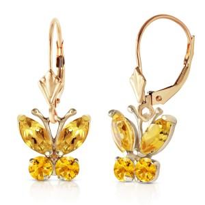 1.24 CTW 14K Solid Gold Butterfly Earrings Citrine