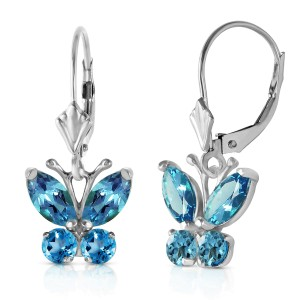 1.24 CTW 14K Solid White Gold Butterfly Earrings Blue Topaz