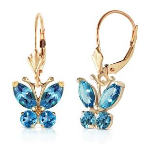 1.24 CTW 14K Solid Gold Butterfly Earrings Blue Topaz