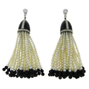 Vintage Tiffany Co Platinum Tel Seed Pearl Black Onyx Earrings