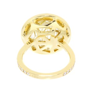 Chaumet 18K Yellow Gold with Diamond and Rutilated Quartz Ring Size 6.5