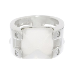 Hermes 925 Sterling Silver with Diamond & Moonstone Medor Ring Size 4