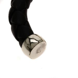 Bottega Veneta 925 Sterling Silver and Leather Intrecciato Bangle Bracelet