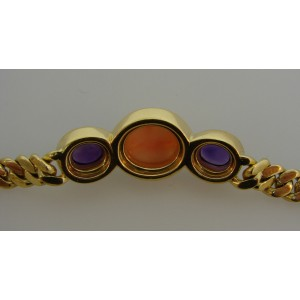 Bulgari 18K Yellow Gold with Coral and Amethyst Link Chain Necklace