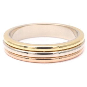 Cartier 18K Yellow White and Rose Gold Band Ring Size 5.75