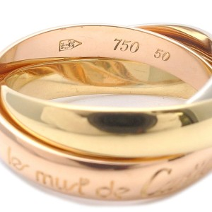 Cartier Trinity 18k White Rose and Yellow Gold Ring Size 5.25