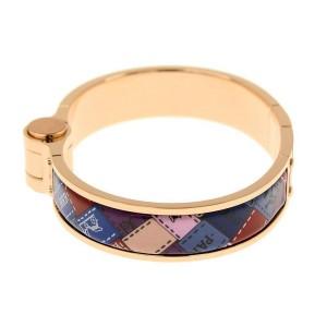 Hermes Rose Gold Plated and Enamel Bangle Bracelet