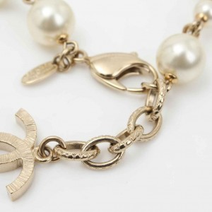 Chanel Gold Tone Hardware with Simulated Glass Pearl Bracelet