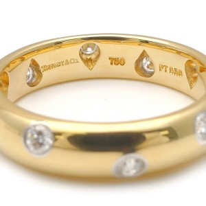 Tiffany & Co. 18K Yellow Gold and Pt950 Platinum with Diamond Ring Size 5
