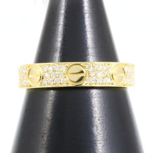 Cartier Mini Love 18K Yellow Gold & Diamond Ring 4.25