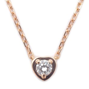 Cartier Diamants Légers 18K Rose Gold with 0.13ct 1P Diamond Heart Necklace