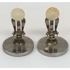 Hermes Corozo Silver Tone Hardware Clip Earrings